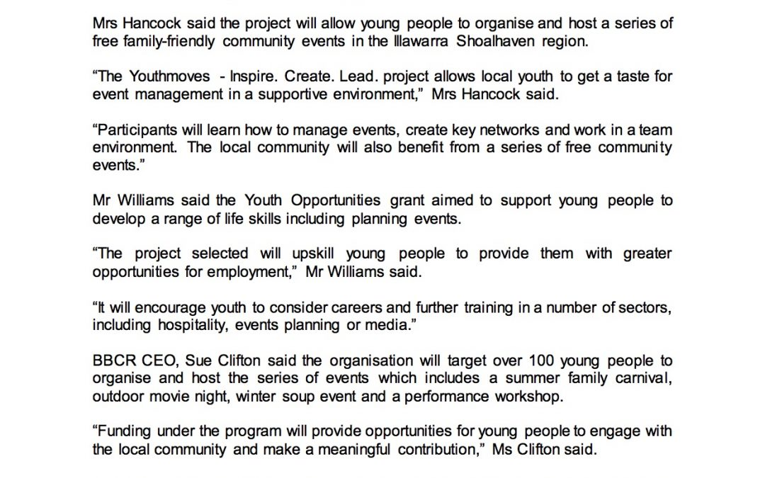 """BBCR has been successful in gaining much needed funding to """"Support Youth Development"""""""