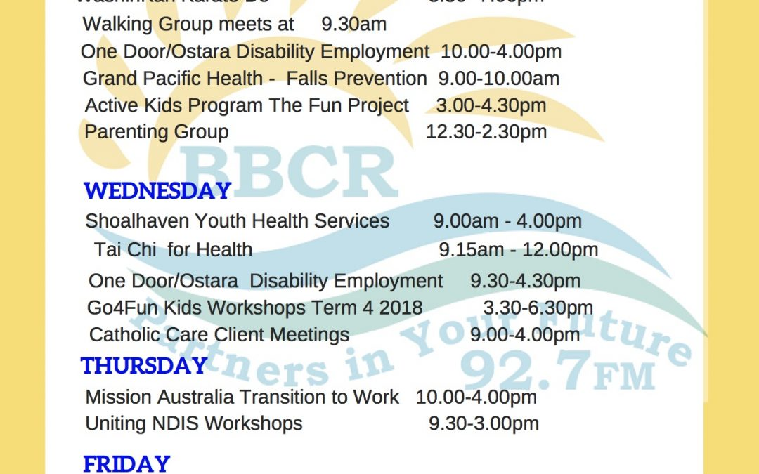 Whats on at The Sanctuary Point Youth and Community Centre