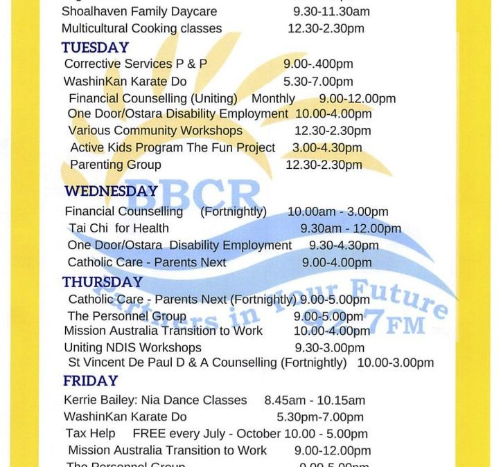 Whats on at the Sanctuary Point Community Centre