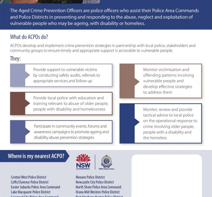 NSW Police Force now has Aged Crime Prevention Officers (ACPOs) in multiple locations